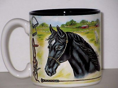 Horse Equestrian Mug Cup Black Bay Horses Artwork S. Tuck 12 OZ