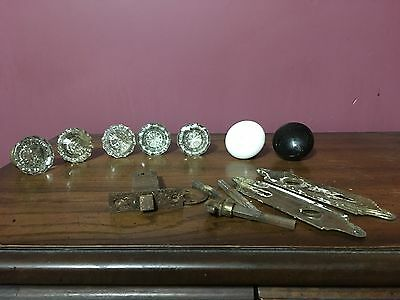 Lot Of 5 Vintage 12 Point Matching Glass Doorknobs, 2 Porcelain and Hardware