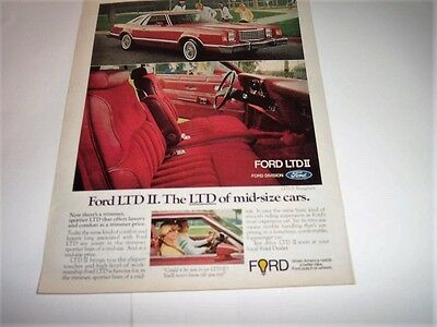 1977 Ford LTD II - Brougham RED Coupe -  Photo Print Original Magazine Ad