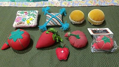 Vintage 9Pc Htf Antique Sewing Needle Pin Cushion Different Misc Pin Cushion Lot