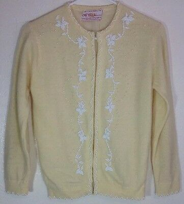 Imperial Vintage Angora Lambs Wool Blend Sweater S Cardigan Beaded Lined (AA)