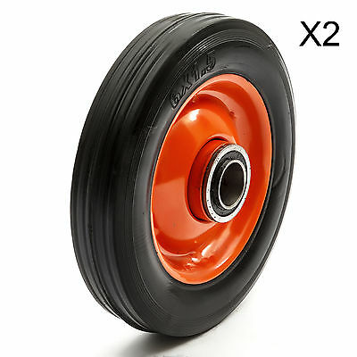 "6"" Hand Sack Truck Trolley Tyre Wheel x 2 Barrow Solid Rubber Industrial 200kg"