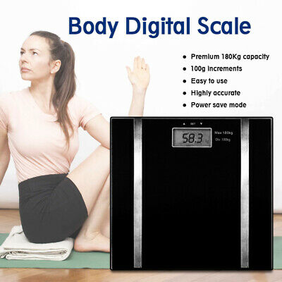 Digital Electronic Scale Body Fat LCD Bathroom Gym Weight Black