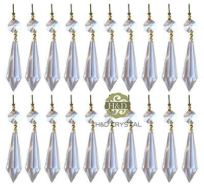 20 Clear Crystal Chandelier Icicle U-drop Prisms Lamp Pendants Brass Connector