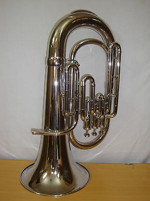 BRAND-NEW-NICKEL-PLATED-Bb-PITCH-EUPHONIUM-WITH-FREE HARD CASE+M/P