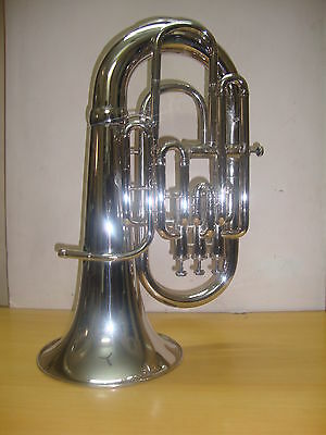 **GREAT SALE! NEW-NICKEL-PLATED-Bb/F-FLAT-4 VALVE EUPHONIUM-FREE HARD CASE+M/P