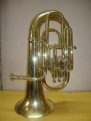 NEW-BRASS FINISH-Bb/F-FLAT-4 VALVE EUPHONIUM-FREE HARD CASE+M/P+FAST SHIP