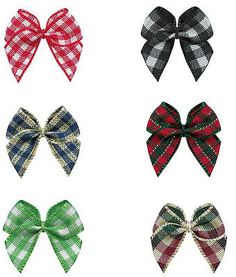 "100pcs 26mm 1"" Bows Gingham Tartan Check Ribbon Eco Quality Craft Wedding"