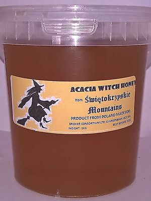 """1 Kg Acacia """"witch"""" Mountain Honey 100%natural  Raw Pure From Apiary 2016"""