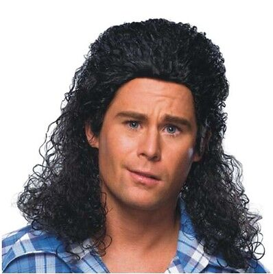 Wig - Perm Mullet - Adult Mens Black Redneck Rocker Kenny Powers Parody Style