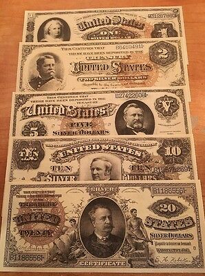 Reproduction  Paper Money 1886 5PC Silver Cert Set US Currency Copy Note