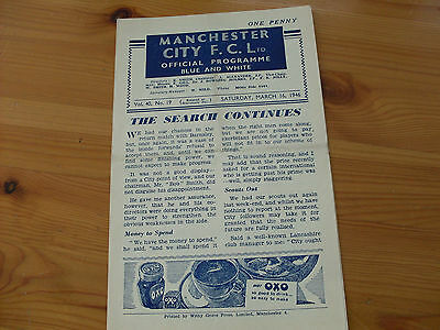 Football programme--Man City v Preston 1945-6