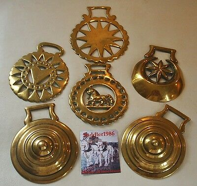 *a Selection Of Six Genuine Antique Horse Brasses*
