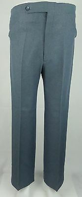 Vtg 1970s Blue Poly Sta Press Tapered Frogmouth Trousers Mod W37 DZ32