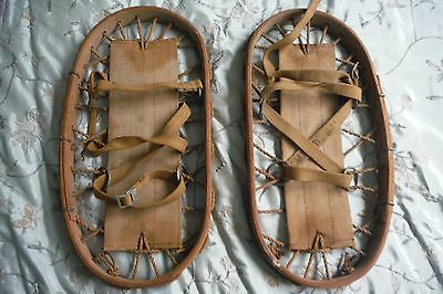 1942 Vintage WWII Wood Bear Paw Snow Shoes