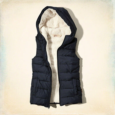 Abercrombie & Fitch - Hollister Womens Hooded Sherpa Vest Jacket XS Black NWT