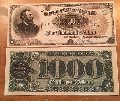Copy Reproduction 1890 $1000 Grand Watermelon US Treasury Currency Note Set