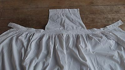French Vintage White Quality Cotton Full Apron / Pinafore Button Fastenings