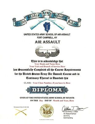 Army Air Assault Course School Deploma Replacement Certificate