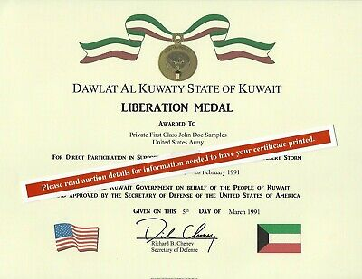 Kuwait Liberation  Desert Storm Military Medal Replacement Certificate