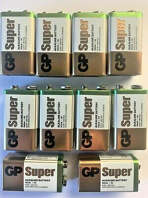 10 x GP SUPER ALKALINE 9V PP3 BATTERY PP3 MN1604 6LR61 BLOCK 6LF22