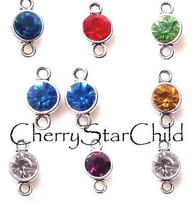 2x crystal set connectors red blue green gold fndings jewellery necklace earring