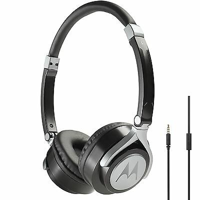 Motorola Pulse 2 Ultra Lightweight On-Ear Wired Headphones with Microphone Black