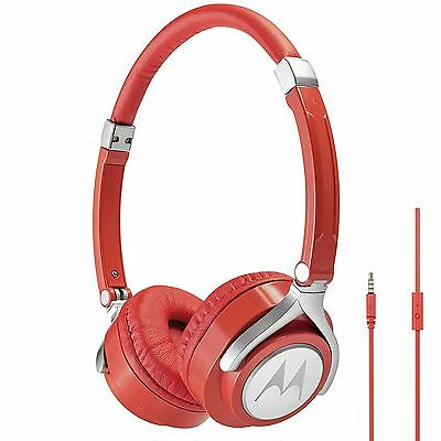 Motorola Pulse 2 Ultra Lightweight On-Ear Wired Headphones with Microphone - Red
