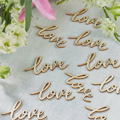 BOHO WOODEN Vintage LOVE Table Confetti Wedding VALENTINES DAY Decoration Party