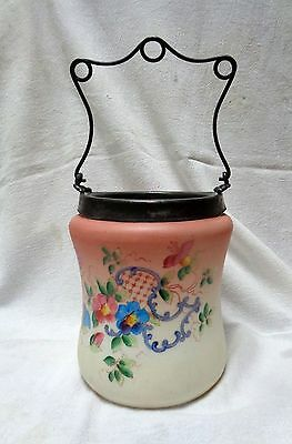 1900S VICTORIAN BRISTOL Glass CRACKER BISCUIT JAR with HP FLORAL DECOR SP HANDLE