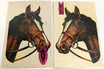 Vtg Meyercord Decal 2 Large Horse Head Bay 1503 A C Bridle Blaze Decor Face NIP