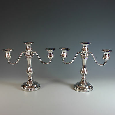 Pair of Silverplate Three Arm Candelabra Reed & Barton Silver Plate Candle Stick