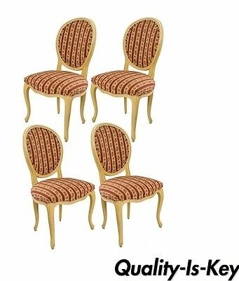 Set of 4 Baker French Country Provincial Dining Chairs Louis XV Style Oval Back
