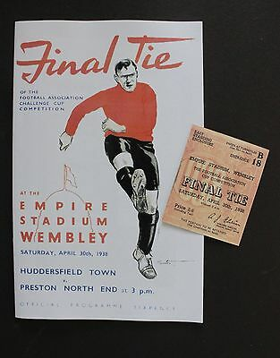 1938 FA Cup Final Preston North End Vs Huddersfield Town Programme Ticket