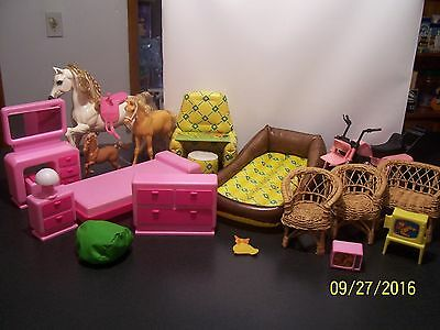 Vintage Barbie Doll Bed Set,blow Ups, Wicker Chairs,horse's ,3 Wheeler