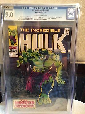 INCREDIBLE HULK #105  CGC 9.0 VF/NM ( 1968 MARVEL )  1st app Missing Link
