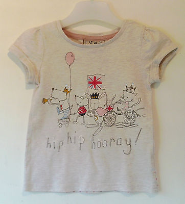 NEXT Baby Girls T-Shirt with A Great Motif Hip Hip Hooray Age 9 - 12 Months
