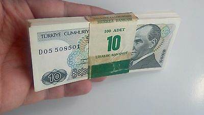 Turkey Turkish 10 Lira X 100 Bundle For Collectable Not For Use !!!!