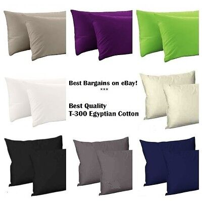 100% Combed Egyptian Cotton Sateen Pair of Housewife Pillow Cases