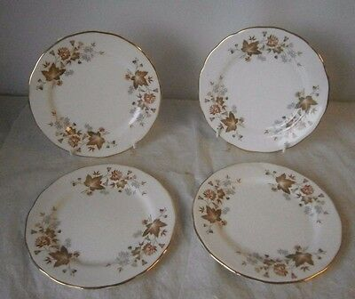 Colclough China Avon Side Plates x4 Tableware Vintage Brown Leaves