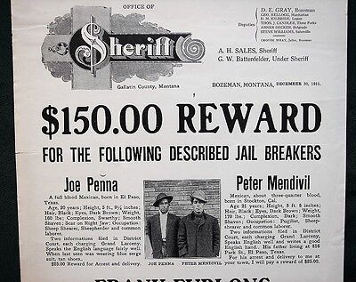 Gallatin County Jail Breakers Bozeman Montana orig 1911 Reward Wanted Poster