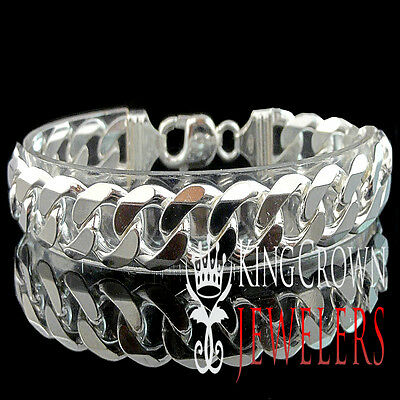 "Men's Womens Real Sterling Silver 925 Cuban Curb Link Bracelet 6mm ~8mm 9"" New"