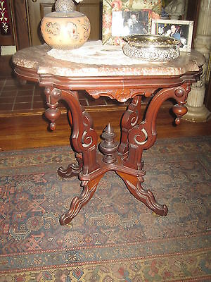 Antique Victorian Walnut Scalloped Marble Top Table