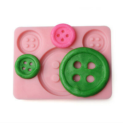 3 Button Silicone Mould Chocolate Cake Topper Baking Icing Fondant Large Small