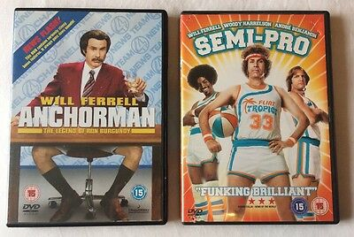 2x Will Ferrell Movies DVD Bundle :  Anchorman + Semi-Pro  **FREE UK DELIVERY**