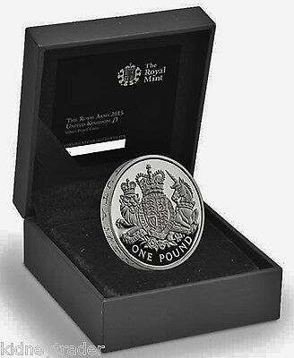 The Royal Arms 2015 United Kingdom £1 Silver Proof Coin .925% Only 3500 made.