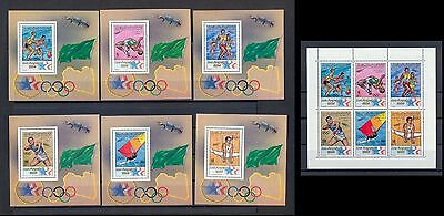 Libya 1983 - Perforated Sheet + 6 Special Minisheets - Olympic Games Los Angelos