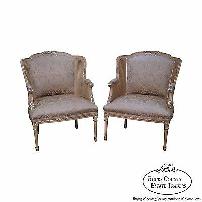 Century Pair of French Louis XVI Style Partial Gilt Cane Side Bergere Chairs