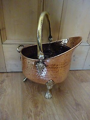 Vintage Copper And Brass Hammered Pattern Log/Coal Bucket With 3 Lion Feet