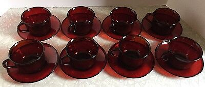 Vintage Set 16 Arcoroc France Ruby Red Glass Dishes 8 Cups and 8 Saucer Plates